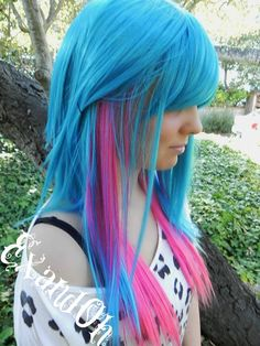 blue hair color with pink
