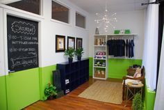 yoga studio storage | Cubbies for guest storage and Retail