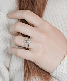 The Royal Ring Set - Diamond Solitaire Engagement Ring and Crown Curved Wedding Band - Praise