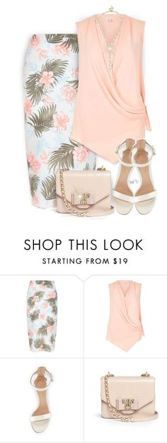 """Tropical Print Pencil Skirt"" by kiki-bi ❤ liked on Polyvore featuring New Look, River Island, Gianvito Rossi, Tory Burch, BaubleBar, pencilskirt and tropicalprints"