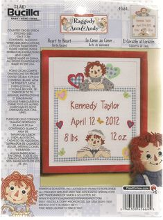 Raggedy Ann & Andy Cross Stitch Kit Birth by needlecraftsupershop, $21.99