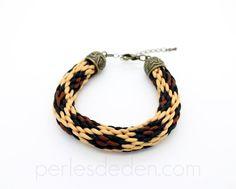 Bracelet kumihimo léopard tissé à la main