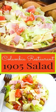 Columbia's 1905 Salad - crisp iceberg lettuce with julienne baked ham, Swiss cheese, tomato, olives, grated Romano cheese and tossed with a garlic vinaigrette dressing. You can enjoy this original made famous by the Columbia Restaurant right at home! Copycat Recipes, New Recipes, Summer Recipes, Cooking Recipes, Healthy Recipes, Cooking Kale, Salad Dressing Recipes, Vinaigrette Dressing, Salad Dressings