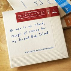 Cocktail Note Coasters Volume 1 now featured on Fab.