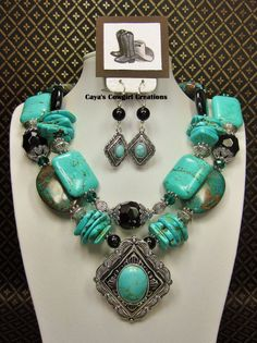 WESTERN COWGIRL NECKLACE Set / Howlite by CayaCowgirlCreations