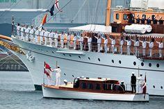 "Queen Margrethe & Prince Henrik ready to board the royal yacht ""Dannebrog"", sommer 2012.  denmark boat"