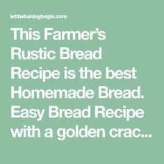This Farmer's Rustic Bread Recipe is the best Homemade Bread. Easy Bread Recipe with a golden crackly crust and a chewy crumb, made with basic ingredients. Best Biscuit Recipe, Rustic Bread, Easy Bread Recipes, Farmer, Good Things, Homemade, Dinner, Baking, Breads