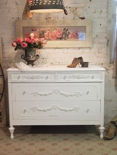 Painted Cottage Chic Shabby White French by paintedcottages