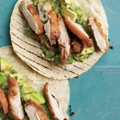 Andrew Zimmern's fried chicken tacos with avocado-tomatillo salsa