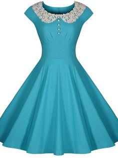 Women's Chic Lace Short Sleeve A-Line Dress