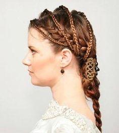 From a bygone hair-a Renaissance Hairstyles, Historical Hairstyles, Pretty Hairstyles, Braided Hairstyles, Hair Inspo, Hair Inspiration, Celtic Braid, Viking Braids, Fantasy Hair