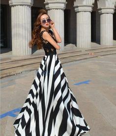 Maxi Dress With Black & White Stripes