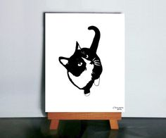 Cat Silhouette Art Black and White Cat Art by VibrantShadows, $48.00