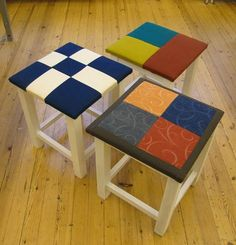 Diy Crafts For School, Textiles, Wood Crafts, Painted Furniture, Stool, Kraken, Woodworking, Quilts, Painting