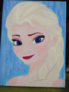 Hand Painted Disney Elsa From Frozen Acrylic On by CraftABee, £20.00