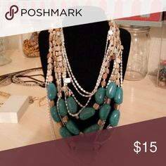"""Handcrafted one of a kind necklace Multi layers of chains, mother of pearl square beads and turquoise beads. Longest point is 12"""" Handcrafted Jewelry Necklaces"""