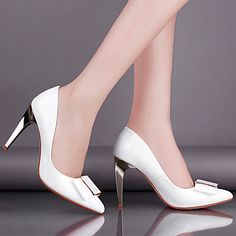 Women's Shoes Pointed Toe Stiletto Heel Pumps Leather Dress Shoes More Colors available – USD $ 54.99