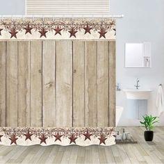 Texas Lone Star on Rustic Brown Wood Board Shower Curtain Waterproof Fabric Hook