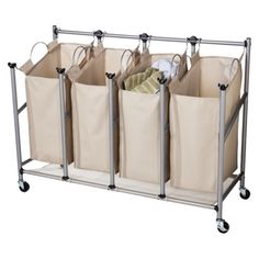 wouldn't mind a laundry sorting station in the basement... Threshold Brown Linen Quad Front Load Laundry Sorter