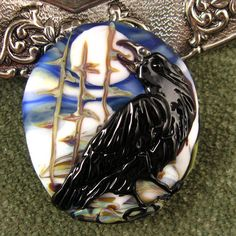 Lampwork  Raven Moon Focal Bead by Kerribeads by kerribeads,