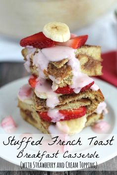 An easy, crazy-delicious, healthy Stuffed French Toast Breakfast Casserole with all the beloved flavors of a PB&J . plus a luscious fruity topping! A family favorite that's so quick and easy to make-ahead! Breakfast Casserole French Toast, Easy Breakfast Casserole Recipes, Breakfast Toast, Delicious Breakfast Recipes, Breakfast Dishes, Brunch Recipes, Overnight Breakfast, Breakfast Ideas, Sweet Breakfast