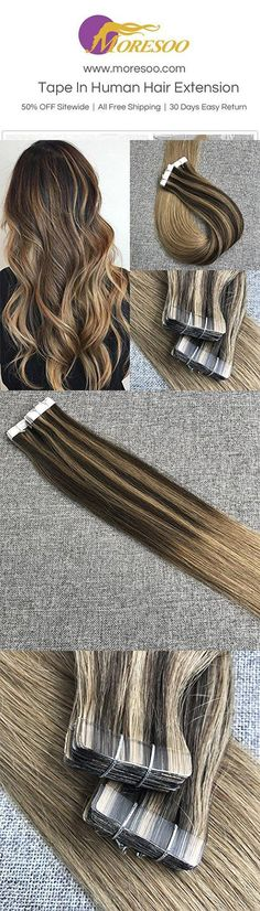 50g Tape In Balayage Brazilian Remy Human Hair Extension(#2/8/8). #tapehair #ombrehair age#ombre#Moresoo #remyhair #realhumanhair