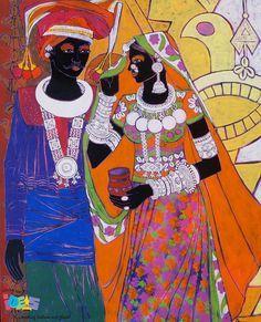 "Serene Harmony 21 - Painting by Anuradha Thakur | Indian Beauty ""2 ..."