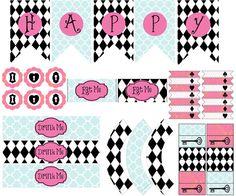 Alice in Wonderland Party Printable Kit / Complete Alice in Wonderland party DIY decor kit / Instant download
