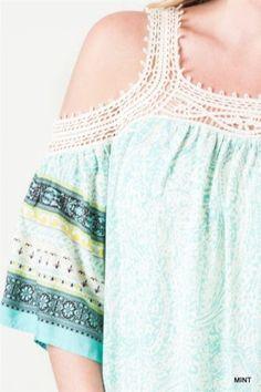 Kori-America-Plus-Size-Cold-Shoulder-Dress-Lace-Trim-Paisley-Print-PD1040 #Unique_Boho_Style