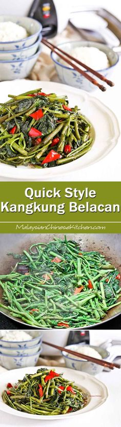 This Quick Style Kangkung Belacan is a twist on a popular Malaysian stir fry made simpler and quicker. Just as delicious with a bowl of rice. | MalaysianChineseKitchen.com