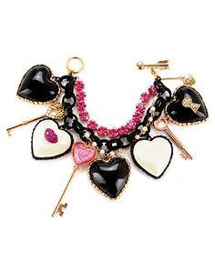 Pre-owned Betsey Johnson Charm Bracelet Heart Keys Marilyn Lips Black Pink Heart Jewelry, Body Jewelry, Unique Jewelry, Black Bracelets, Jewelry Bracelets, Jewlery, Bow Bracelet, Bracelet Charms, Dior