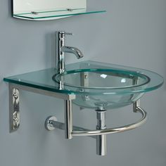 Charming Lowry Wall Mount Glass Sink With Mirror And Shelf   Bathroom Sinks    Bathroom