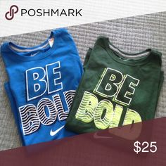 "NWT BUNDLE OF NIKE SLIM FIT TEES Details:  Both say """"Be Bold."" Blue -- Size M, 25"" from top to bottom hem 17.5"" pit to pit Green -- Size L, 27"" from top to bottom of hem, 18"" pit to pit Material: 100% Cotton Both NWT, Retails:  $25 ea. Nike Tops Tees - Short Sleeve"