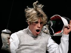 Inspiration: This is so Cody after winning a match. :)    Fencing Picture of the Day: World Champion Peter Joppich | Tim Morehouse