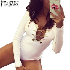 Plus Size  Rompers Womens Slim Fit Playsuits Long Sleeve Tops Jumpsuit Sexy Bodysuit Short Overalls Ladies Lace Up - White, S Like if you are Excited! Get it here