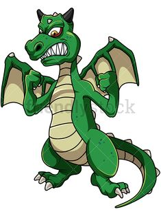 Green Angry Dragon: Royalty-free stock vector illustration of a mean green dragon with sharp teeth clenching its fists. #friendlystock #clipart #cartoon #vector #stockimage #art #dragon #got #mad #anger #green