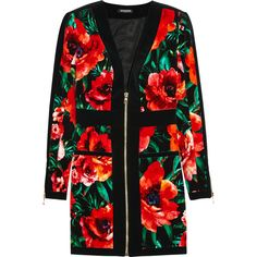 Balmain Floral-print velvet mini dress (€1.105) ❤ liked on Polyvore featuring dresses, red, flower print dress, zipper dress, velvet mini dress, short dresses and floral mini dress