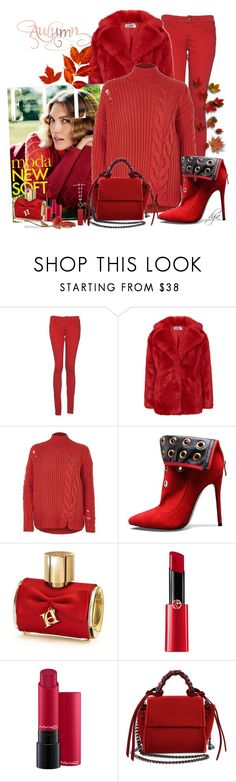 """Red for Fall"" by dgia ❤ liked on Polyvore featuring Monkee Genes, River Island, Carolina Herrera, Giorgio Armani, Elena Ghisellini and Occasionally Made"