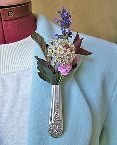 JUBILEE Lapel Vase - Tussie Mussie - Upcycled from antique silverplate knife. $8.00, via Etsy.