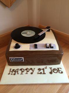 Record Player 21st Birthday cake