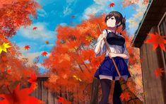 Kaga, kancolle, autumn, outdoor, cleaning