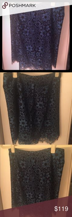Blue and black lace skirt New with tag, never worn. High rise blue and black lace skirt. For Love and Lemons Skirts Mini