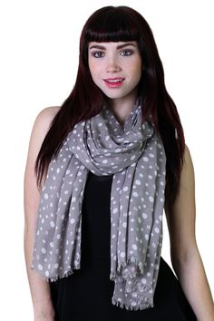 Classic white polka dot womens scarf on grey base with a chic and charming twist, take a closer look and youll see little red lady bugs living in some