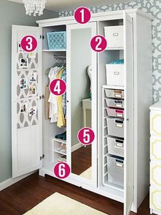 In older homes and small apartments it's hard to find great storage and closet space solutions. Don't let the words wardrobe and armoire scare you though! There are some seriously great designs to choose from that give you the storage you need. Wardrobe Organisation, Home Organization Hacks, Closet Organization, Organizing Tips, Organising, Closet Bedroom, Closet Space, Wardrobe Closet, Girls Bedroom