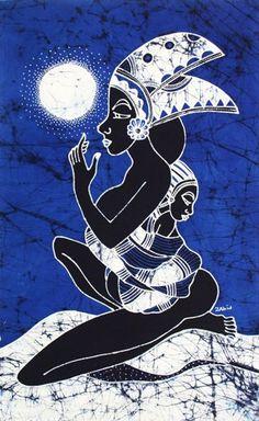 Batik Art Painting, 'Lady with Child' by Zabid (45cm x 75cm) @asiansecrets #bmecountdown   -  on ArtFire