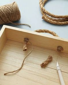 DIY Rope handles- for the built ins at end of our hallway Diy Projects To Try, Wood Projects, Craft Projects, Furniture Handles, Diy Furniture, Kitchen Furniture, Rope Crafts, Diy And Crafts, Diys