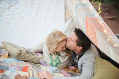 Super-cute boho camping engagement shoot
