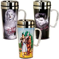 Mugs with insulating stainless steel inner wall and sipping lid. The Wizard of Oz cast help you get ready to face the day!