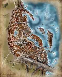 Map of the city of Corentyn: Fantasy Map Making, Fantasy City Map, Fantasy Rpg, Medieval Fantasy, Medieval Castle, Rpg City, Plan Ville, Environment Map, Pathfinder Maps