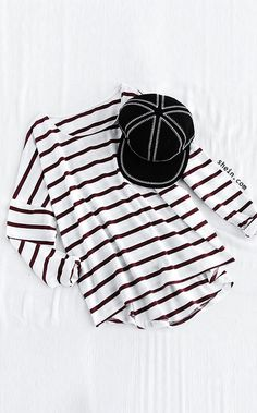 Red Dropped Shoulder Seam Striped Dip Hem Pocket T-Shirt. Three colors available.